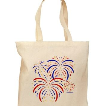 Patriotic Fireworks with Bursting Stars Grocery Tote Bag by TooLoud