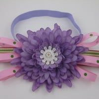 Handmade Elastic Headband Newborn Infant, Lavender Silk Flower and Matching Pink Bows with Green Polka Dots and Stripes