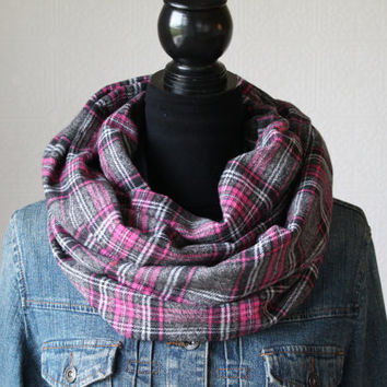 Pink and Gray Plaid Scarf, Plaid Infinity Scarf, Flannel Scarf, Winter Scarf, Womens Scarf, Christmas Gift