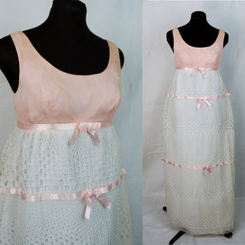 Vintage 60s prom dress  pink and white  eyelet by vintagerunway