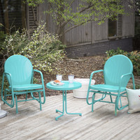 Outdoor 3-Piece Retro Turquoise Blue Patio Furniture Glider Chair Set with Side Table