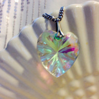 Iridescent Glass Heart Necklace Vintage Necklace on Long Silver Tone Chain