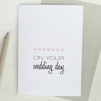 Wedding day greeting card pink hearts wedding gift typography romantic