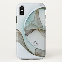 Abstract Modern Art Turquoise Brown Gold Monogram iPhone X Case