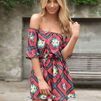 Red Printed Tube Off Shoulder Romper with Open Back