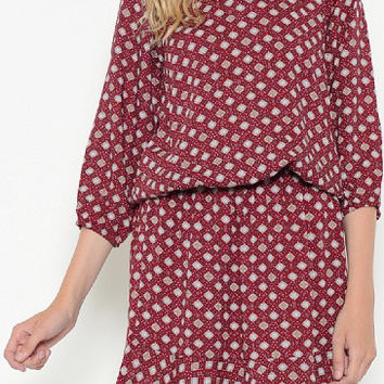 Patterned Drop Waist Dress with 3/4 Sleeve