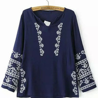 Navy Long Sleeve Embroidered Loose Blouse