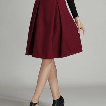 Burgundy Pleated Woolen Midi Skirt