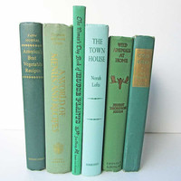 Vintage Book  Set in Old Green Tones, Vintage Books, Book Stack, Old Mossy Green Books, Library Accent, Decor Book Set, Table Centerpiece,