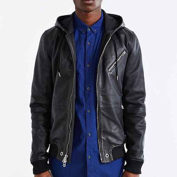 Your Neighbors Hooded Leather Bomber Jacket- Black