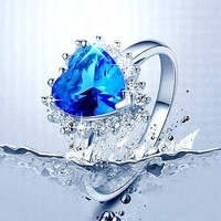 2.12 Blue Heart Cut Gematone Stud sterling silver wedding Ring with free ship