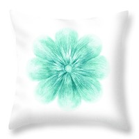 "Turquoise Flower Throw Pillow 14"" x 14"""