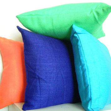 Decorative Neon Pillows, Set of 4, Neon Orange, Neon Green, Bright Blue, and Dark Purple, Neon Cushions