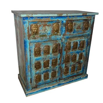 Antique Media Console Table Buddha Carving Chest Distressed Sideboard Furniture