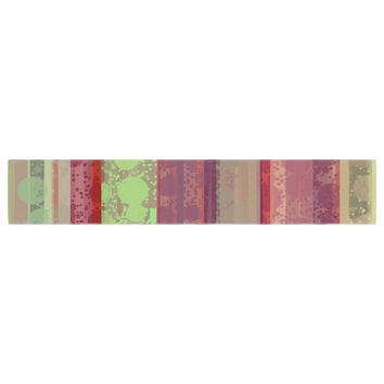"Cvetelina Todorova ""Magic Carpet"" Green Maroon Table Runner"