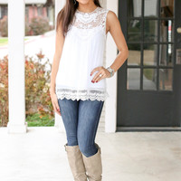 Leap of Lace Tank - Ivory