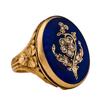 Antique French Guilloche Enamel Locket Ring