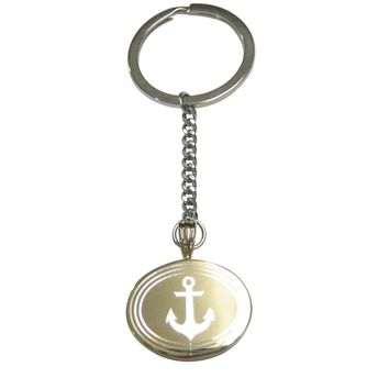 Gold Toned Etched Oval Nautical Anchor Pendant Keychain