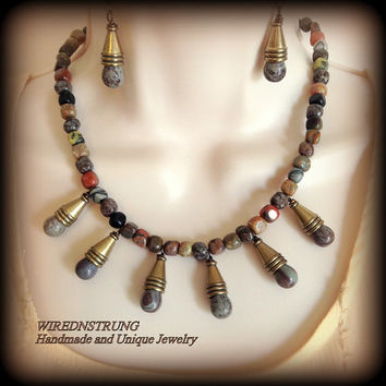 SALE**Unique handmade Multi Stone Agate and Jasper  Necklace and Earring set,  Earth tone colors, Free Shipping code: SHIPFREE