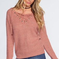 Addison Lace Up Sweater - Mauve