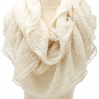 RUFFLED OPEN KNIT INFINITY SCARF