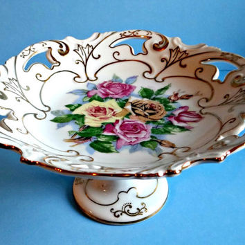 Vintage Floral Footed Dessert Stand With Gold Rim Made in Japan, Hand Painted Floral Compote, Kitchenware, Serving, Wedding, Bridal, Candy