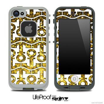 White and Gold Glimmer Anchor Collage Skin for the iPhone 5 or 4/4s LifeProof Case