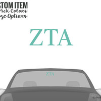 ZTA Zeta Tau Alpha Classic Letters Car Laptop Dorm Window Vinyl Sorority Decal Sticker