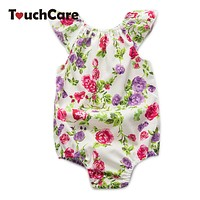 Flying Sleeve Baby Clothes Newborn Rose Floral Baby Girl Romper Jumpsuit Infant Baby Rompers Summer Clothing