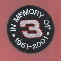 NEW 3 INCH DALE EARNHARDT SR IN MEMORY OF IRON ON PATCH FREE SHIPPING