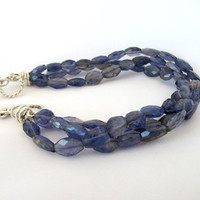 Exotic blue iolite tennis bracelet, multi strand gemstone bracelet, fine jewelry gift for her