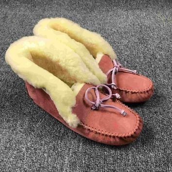 LFMON UGG 4806 Tall TODS Hogskin Sheepskin Women Men Fashion Casual Wool Winter Snow Boots Roseo