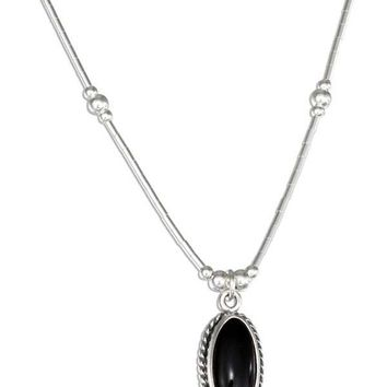 "Sterling Silver 16"" Liquid Silver With Oval Simulated Black Onyx Necklace"