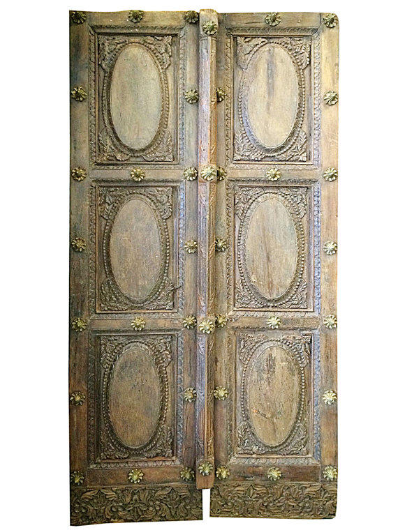 - Vintage Indian Doors Brass Floral Accent From MOGULGALLERY On