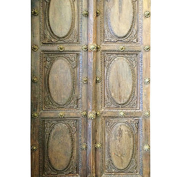 Vintage Indian Doors Brass Floral Accent Architecture Double Door Panel - India Furniture