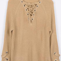 Cupshe Private Party Lace Up Long Sweater