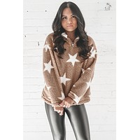 Say Less Taupe Sherpa Star Pullover