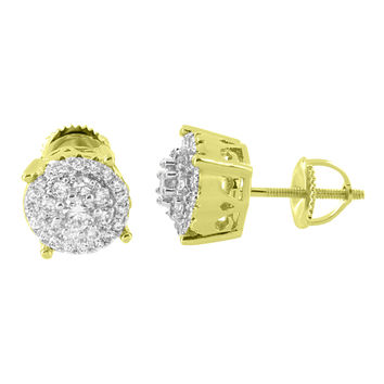 Prong Set Earrings Cluster Simulated Diamonds 14K Yellow Gold Finish Studs Mens Women