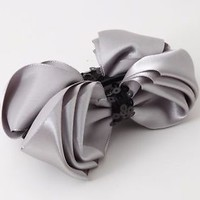 Handmade Satin Multi Layered Bow Hair Banana Clip