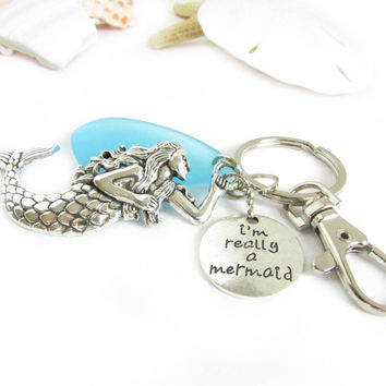 I'm Really a Mermaid Sea Glass Keychain