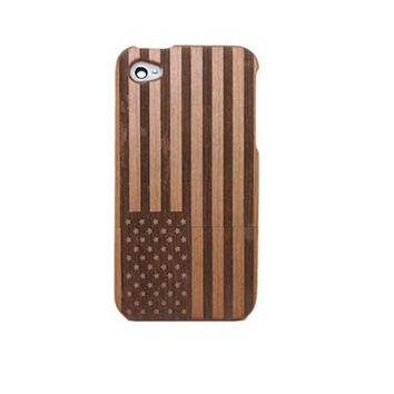 America US Flag Carving Wooden Phone Case for iPhone 4 / iPhone 4S