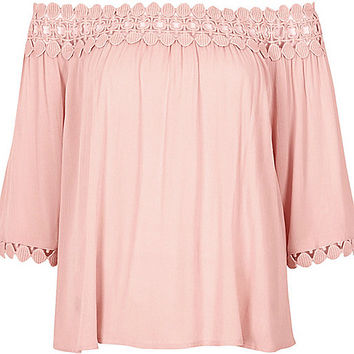 Light pink lace bardot top