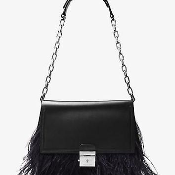 Mia French Calf and Feather Shoulder Bag | Michael Kors