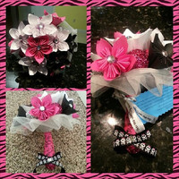 Hot Pink Black N Silver w/ skulls Handmade Forever Wedding Bouquet A keepsake that will last a lifetime to remember your Wedding day! SALE!!