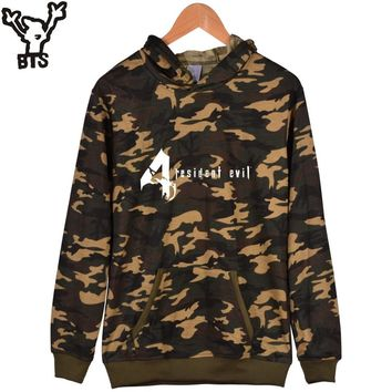 BTS Resident Evil Alice Camouflage Hooded Winter Hoodies Men Casual Classic RPG Game Fashion Sweatshirt Men Funny 4XL Clothes