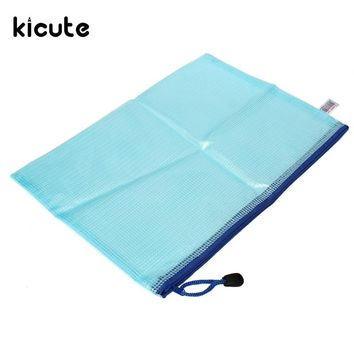 Kicute New Document File Bag Holder Storage Case Cosmetic Bag Student School Supplies Pen Bag Plastic Container Color Randomly