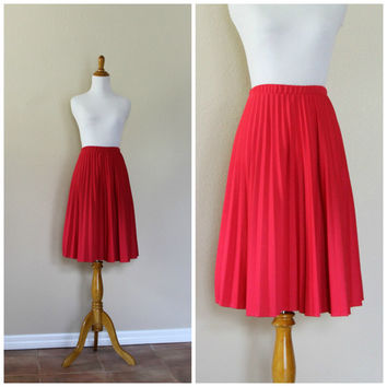 VIntage 70s Pink Accordion Knife Pleat Skirt// Magenta Knee Length Skirt// Full Circle Skirt// High Waist Skirt//Pleated Skirt//Flowy Skirt