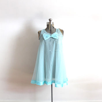 60s Nightie / 1960s Mod Babydoll Blue Nightgown