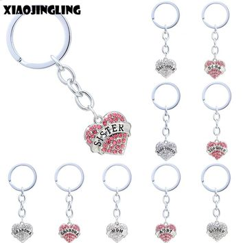 XIAOJINGLING 20 Styles Pink White Crystal Heart Keychain Love Fashion Key Chain Sister Mom Grandma Best Friend Gifts Key Ring