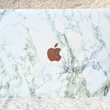 Marble Macbook Laptop Case with Glitter Apple Logo ALL COLORS